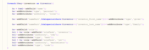 This is a screenshot of the JSON to MODS php script