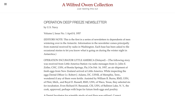 A screenshot of a webpage titled 'A Wilfred Owen Collection: Just testing this out' with the text of the first Operation Deep Freeze Newsletter below the title. The interface is very simple and appealing with dark red accents and a collapsible menu bar.
