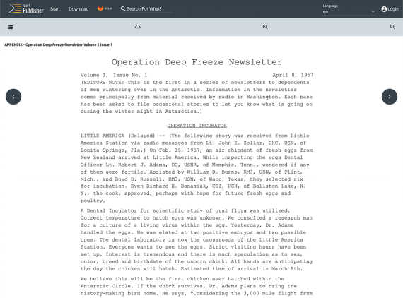 A screenshot of a webpage titled TEI Publisher with the content of the first Deep Freeze Newsletter in it. The interface has a search bar and small arrows to navigate between pages, and all the text is displayed in a old-timey typewriter font to mimic the original newsletter.