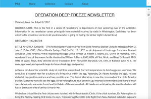 A very basic interface that has a navigation bar at the top labelled 'Pilot' with links to a homepage, collections page, about page and contact information. The contents of the Operation Deep Freeze newsletter are again reproduced here with very basic text styling and layout.